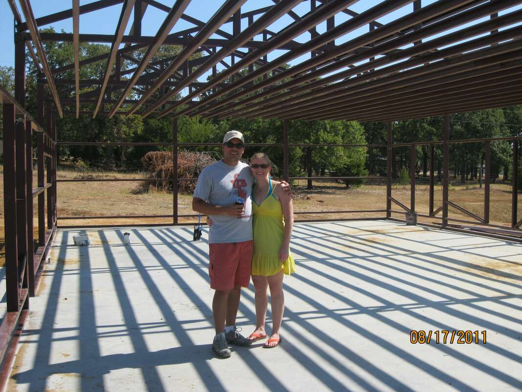 Picture of our barndominium metal building home under construction.