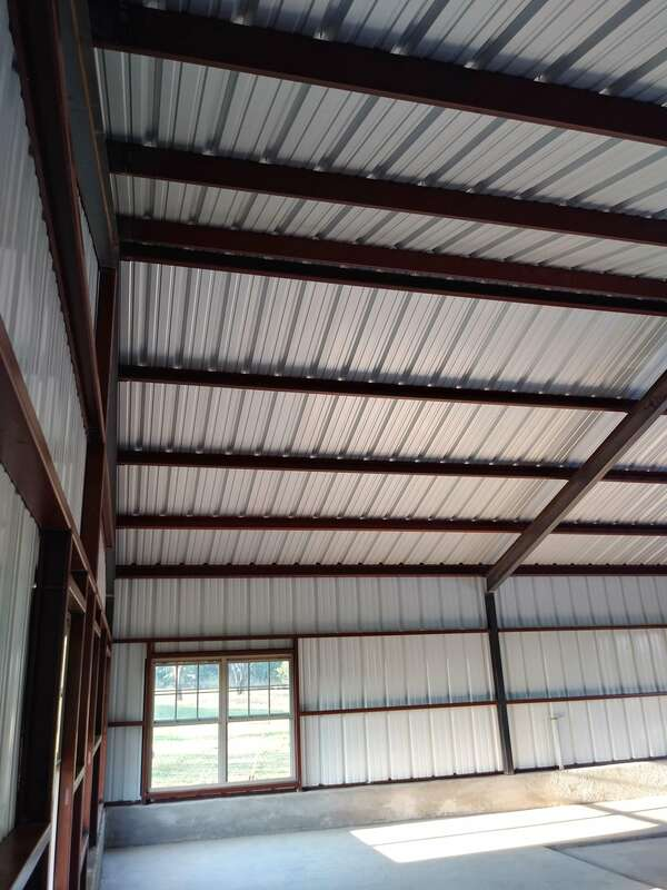 View of ceiling after metal building erection completed.