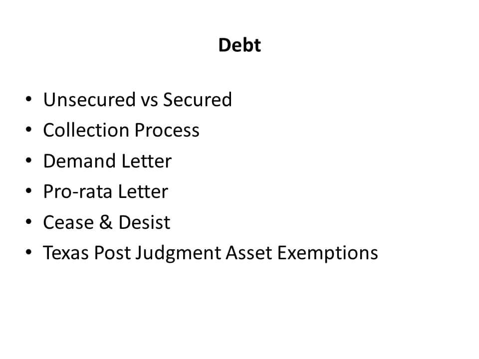 List of types of debt related issues